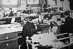 Old photo of male office clerks in Great Western Railway 'Steam' museum, Swindon, Wiltshire, England, UK