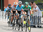 August 10, 2017 - Colorado Springs, Colorado, U.S. -  A group of four riders gain an early gap in men's pro cycling action during the opening stage of the inaugural Colorado Classic cycling race, Colorado Springs, Colorado.