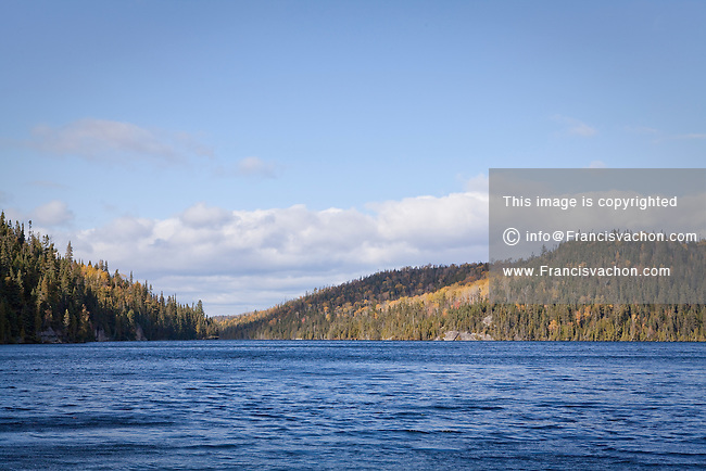 The Lac long lake along route 138 (road 138) is pictured near Les Bergeronnes in the Quebec region of Cote-Nord Thursday October 11, 2012. Cote-Nord covers much of the northern shore of the Saint Lawrence River estuary and the Gulf of Saint Lawrence past Tadoussac.