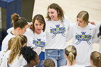 NWA Democrat-Gazette/BEN GOFF @NWABENGOFF<br /> Julie Rowan, Bentonville West head coach, huddles with the team in the 4th set Rogers Heritage Thursday, Sept. 13, 2018, at War Eagle Arena in Rogers.