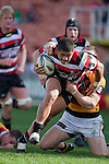 August Pulu fights his way towards the tryline. ITM Cup rugby game between Waikato and Counties Manukau, played at Waikato Stadium, Hamilton on Saturday 28th August 2010..Waikato won 39 - 3.