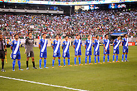Guatemala  National Team at the signing of the National Anthem.   Mexico defeated Guatemala 2-1 in the quaterfinals for the 2011 CONCACAF Gold Cup , at the New Meadowlands Stadium, Saturday June 18, 2011.