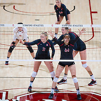 STANFORD, CA - September 9, 2016: Hayley Hodson, Audriana Fitzmorris at Maples Pavilion. The Purdue Boilermakers defeated the Stanford Cardinal 3 - 2.