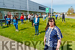 Geraldine O'Regan foreground with staff from Debenhams department store in the Manoe West shopping centre protesting the closure of the shop on Thursday.