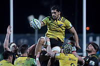 Michael Fatialofa takes lineout ball during the Super Rugby match between the Chiefs and Hurricanes at FMG Stadium in Hamilton, New Zealand on Friday, 13 July 2018. Photo: Dave Lintott / lintottphoto.co.nz