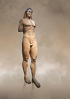 Marble Anxcient Greek Archaic meble statue of a kouros, circa 530 BC, found in Kea,  Athens National Archaeological Museum. Cat no 3886.<br /> <br /> The statue is a lively sculpture with good plasticity in the rendering of the torso. Made by a Kea sculptor.
