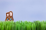Studio shot of Easter chocolate bunny in grass