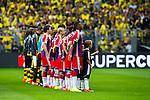 13.08.2014, Signal Iduna Park , Dortmund, GER, DFL-Supercup, Borussia Dortmund vs. FC Bayern Muenchen / M&uuml;nchen, im Bild: Jerome Boateng #17 (FC Bayern M&uuml;nchen / Muenchen) und seine Teamkollegen bei der Aufstellung vor dem Anpfiff. Querformat<br /> <br /> Foto &copy; nordphoto / Grimme