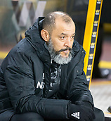 5th February 2019, Molineux Stadium, Wolverhampton, England; FA Cup football, 4th round replay, Wolverhampton Wanderers versus Shrewsbury Town; Wolverhampton Wanderers Manager Nuno Espirito Santo in the team dug out before the kick off