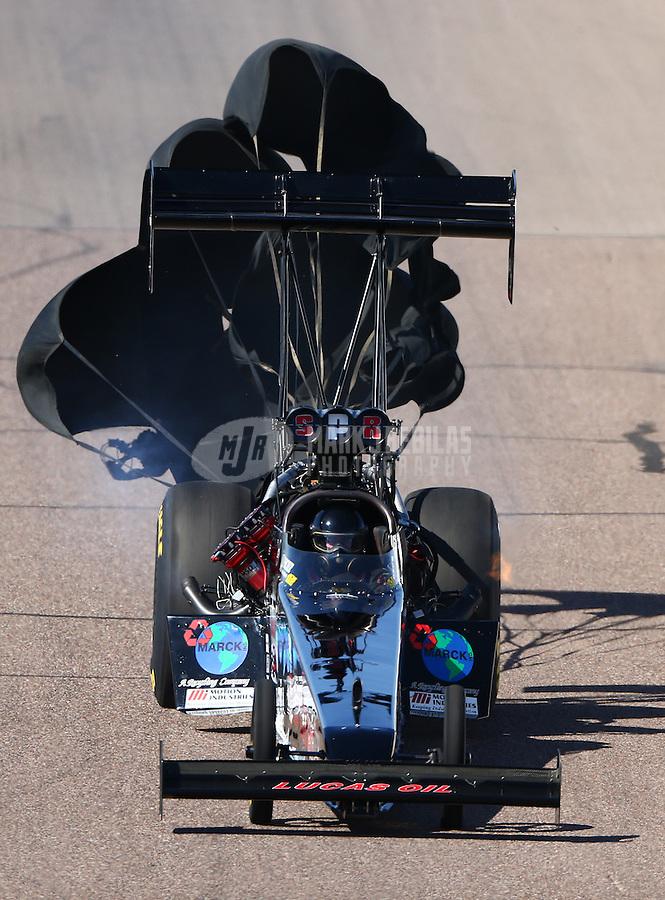 Feb 27, 2016; Chandler, AZ, USA; NHRA top fuel driver Scott Palmer during qualifying for the Carquest Nationals at Wild Horse Pass Motorsports Park. Mandatory Credit: Mark J. Rebilas-