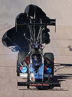 Feb 27, 2016; Chandler, AZ, USA; NHRA top fuel driver Scott Palmer during qualifying for the Carquest Nationals at Wild Horse Pass Motorsports Park. Mandatory Credit: Mark J. Rebilas-