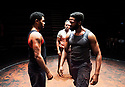The Brothers Size by Tarell Alvin McCraney , A Co Production between Young Vic and Actors Touring Company directed by Bijan Sheibani. With Anthony Welsh as Elegba, Jonathan Ajayi as Oshoosi, Sope Dirisu as Ogun. Opens at The Young Vic Theatre on 26/1/18. CREDIT Geraint LewisEDITORIAL USE ONLY