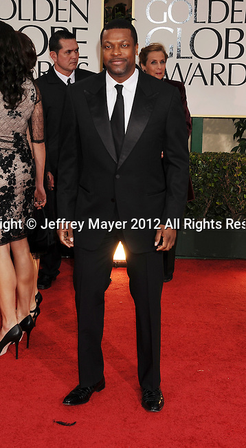 BEVERLY HILLS, CA - JANUARY 15: Chris Tucker arrives at the 69th Annual Golden Globe Awards at The Beverly Hilton hotel on January 15, 2012 in Beverly Hills, California.