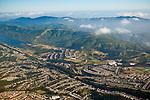 Aerial over the San Francisco peninsula and the San Andreas Earthquake fault, near Daly City, California