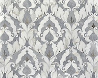 Rumi, stone waterjet mosaic shown in Palisandra, Afyon White and Allure, is part of the Talya Collection by Sara Baldwin for Marble Systems.