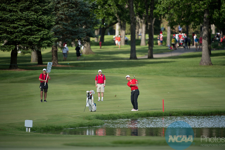 SUGAR GROVE, IL - MAY 29: Justin Kim of UNLV hits an approach shot during the Division I Men's Golf Individual Championship held at Rich Harvest Farms on May 29, 2017 in Sugar Grove, Illinois. (Photo by Jamie Schwaberow/NCAA Photos via Getty Images)