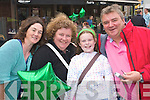 Having a blast at the street entertainment in the Square, Tralee, during the Rose of Tralee Festival on Wednesday night were Theresa Ryall, Ellen Parkinson, Clodagh Parkinson and David Ryall, Tralee.