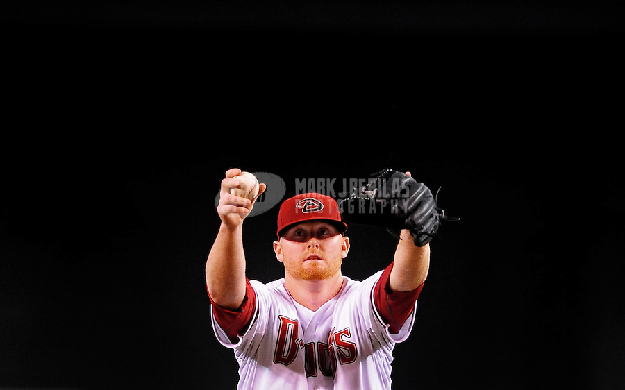 Jul. 20, 2010; Phoenix, AZ, USA; Arizona Diamondbacks pitcher Barry Enright against the New York Mets at Chase Field. Mandatory Credit: Mark J. Rebilas-