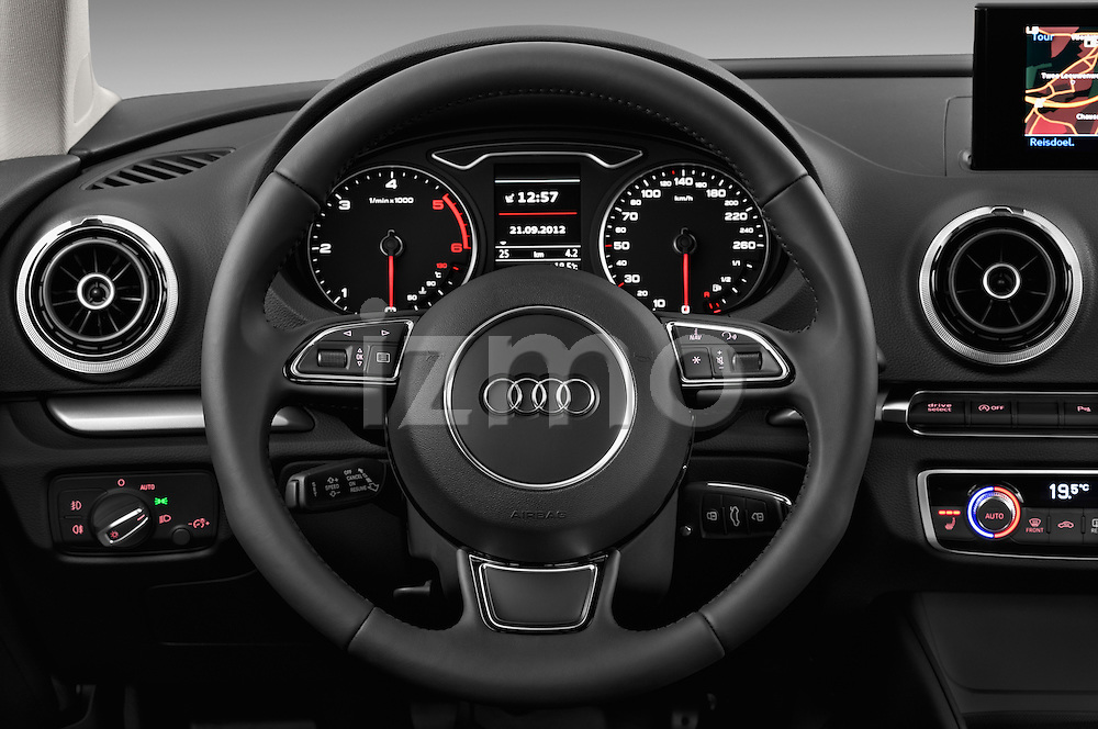 Steering wheel view of a 2013 - 2014 Audi A3 Ambition 3-Door Hatchback.