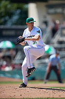 Augusta GreenJackets relief pitcher Preston White (31) during a South Atlantic League game against the Lexington Legends on April 30, 2019 at SRP Park in Augusta, Georgia.  Augusta defeated Lexington 5-1.  (Mike Janes/Four Seam Images)