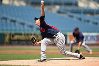 Rian Haire (20) South Caldwell High School in Hudson, North Carolina playing for the Cleveland Indians scout team during the East Coast Pro Showcase on August 2, 2014 at NBT Bank Stadium in Syracuse, New York.  (Mike Janes/Four Seam Images)