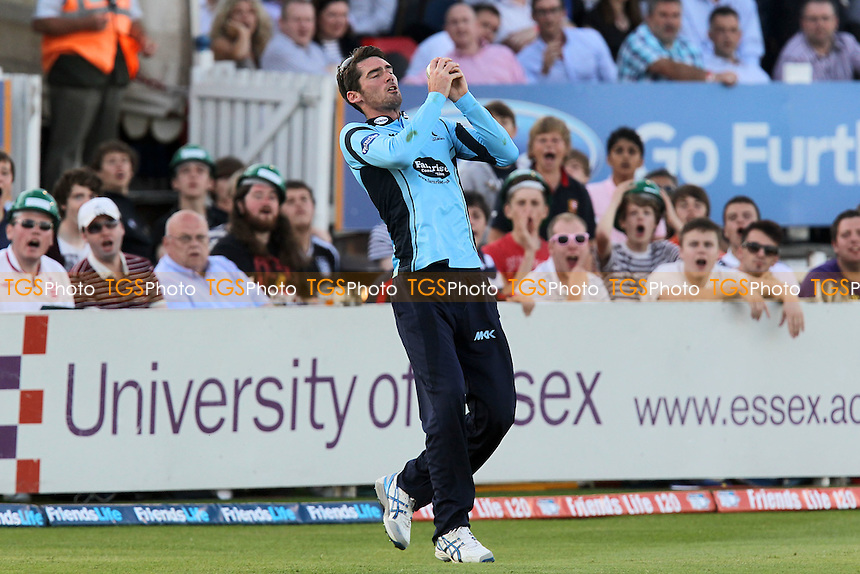 Chris Liddle of Sussex takes a catch to dismiss Ryan ten Doeschate of Essex - Essex Eagles vs Sussex Sharks - Friends Life T20 Cricket at the Ford County Ground, Chelmsford, Essex - 28/06/12 - MANDATORY CREDIT: Gavin Ellis/TGSPHOTO - Self billing applies where appropriate - 0845 094 6026 - contact@tgsphoto.co.uk - NO UNPAID USE.