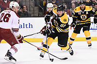 March 13, 2014 - Boston, Massachusetts , U.S. - Boston Bruins left wing Brad Marchand (63) shoots  during the NHL game between the Phoenix Coyotes and the Boston Bruins held at TD Garden in Boston Massachusetts. Eric Canha/CSM