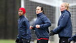 RALEIGH, NC - MARCH 13: Former UNC players Bryane Heaberlin (center) and Jessica McDonald (left). The North Carolina Courage held their first ever training session on March 13, 2017, at WRAL Soccer Center in Raleigh, NC to start their preseason before the 2017 NWSL Season. Prior to its offseason relocation the team was known as the Western New York Flash.