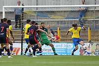 Tom Bender of St Albans blocks a Danny Newton of Stevenage shot on the line during St Albans City vs Stevenage, Friendly Match Football at Clarence Park on 13th July 2019