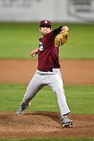 Mahoning Valley Scrappers pitcher Dominic DeMasi (25) delivers a pitch during a game against the Batavia Muckdogs on August 23, 2014 at Dwyer Stadium in Batavia, New York.  Mahoning Valley defeated Batavia 5-1.  (Mike Janes/Four Seam Images)
