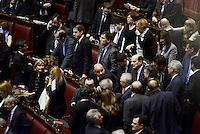 Roma, 20 Aprile 2013.Camera dei Deputati.Votazione del Presidente della Repubblica a camere riunite..Pier Luigi Bersani negli scranni del PD attorniato da Deputati e Senatori