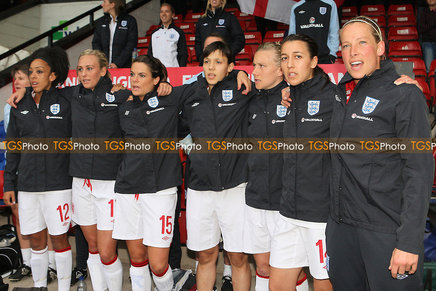 England substitutes sing the national anthem - England Women vs Croatia Women - UEFA Womens Euro 2013 Group 6 Qualifier Football at Banks's Stadium, Walsall - 19/09/12 - MANDATORY CREDIT: Gavin Ellis/TGSPHOTO - Self billing applies where appropriate - 0845 094 6026 - contact@tgsphoto.co.uk - NO UNPAID USE.