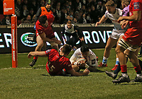 7th February 2020; AJ Bell Stadium, Salford, Lancashire, England; Premiership Cup Rugby, Sale Sharks versus Saracens;  Denny Solomona of Sale Sharks scores the opening try which was converted by Rob du Preez to make the score 7-0