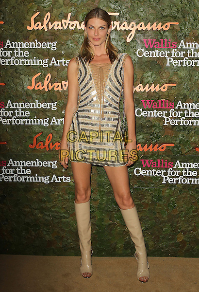 Angela Lindvall<br /> Wallis Annenberg Center For The Performing Arts Inaugural Gala held at Wallis Annenberg Center For The Performing Arts,  Beverly Hills, California, USA, 17th October 2013.<br /> full length silver beige nude dress knee high boots open toe patent <br /> CAP/ADM/KB<br /> &copy;Kevan Brooks/AdMedia/Capital Pictures