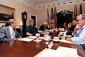 "United States President Bill Clinton, second left, receives a briefing from US Secretary of State Warren Christopher, left, in the following his return on Friday night after consulting with European leaders on the situation in Bosnia in the Roosevelt Room of the White House in Washington, DC on Saturday, May 8, 1993.  Also pictured are US Secretary of Defense Les Aspin; Special Envoy Reginald Bartholomew; Deputy National Security Advisor Leon Fuerth; White House Chief of Staff Thomas ""Mack"" McLarty; the Chairman of the Joint Chiefs of Staff, US Army General Colin L. Powell; US Vice President Al Gore; and National Security Advisor Anthony Lake.<br /> Mandatory Credit: _____ / White House via CNP"