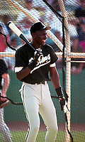 Birmingham Barons Michael Jordan (45) during practice before a 1994 Southern League game against the Orlando Cubs at Tinker Field in Orlando, Florida.  (Tyler Bolden/Four Seam Images)