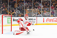 September 26, 2018: Detroit Red Wings goaltender Jonathan Bernier (45) makes a save during the NHL pre-season game between the Detroit Red Wings and the Boston Bruins held at TD Garden, in Boston, Mass. Detroit defeats Boston 3-2 in overtime. Eric Canha/CSM