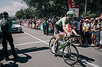 Taylor Phinney (USA/Cannondale-Drapac) crossing the start line wayyy behind the others...<br /> <br /> 104th Tour de France 2017<br /> Stage 18 - Briancon › Izoard (178km)