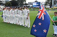 29th November 2019, Hamilton, New Zealand;  NZ team line up with flag bearer on day 1 of the 2nd international cricket test match between New Zealand and England at Seddon Park, Hamilton, New Zealand. Friday 29 November 2019