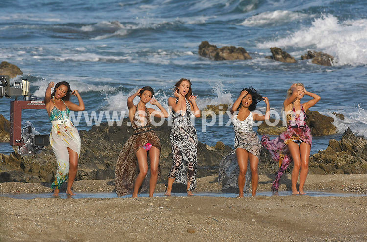 """**ALL-ROUND  PICTURES FROM SOLARPIX.COM**.**WORLDWIDE RIGHTS**.Pictures show girl group """"The Saturdays"""" shooting the video for their new single in Malaga on the Costa del Sol, Spain. .This pic:  The Saturdays shooting new music video in Malaga, Spain..L-R:    Rochelle Wiseman, Frankie Sandford, Una Healy, Vanessa White & Mollie King.JOB REF:  11328   AB1       DATE:   27.05.10.**MUST CREDIT SOLARPIX.COM OR DOUBLE FEE WILL BE CHARGED**.**MUST AGREE FEE BEFORE ONLINE USAGE**.**CALL US ON: +34 952 811 768 or LOW RATE FROM UK 0844 617 7637**"""