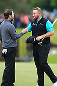 Branden GRACE (RSA) and Shane Lowry (IRL) during round 2 of the 2015 BMW PGA Championship over the West Course at Wentworth, Virgina Water, London. 22/05/2015<br /> Picture Fran Caffrey, www.golffile.ie: