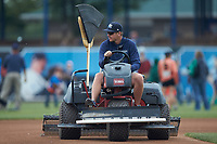 West Michigan Whitecaps head grounds keeper Mitchell Hooten drags the infield prior to the game against the South Bend Cubs at Fifth Third Ballpark on June 10, 2018 in Comstock Park, Michigan. The Cubs defeated the Whitecaps 5-4.  (Brian Westerholt/Four Seam Images)