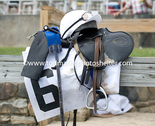 Bernie Dalton sets down his gear after winning the Delaware Park Hurdle aboard Wantan at Fair Hill.