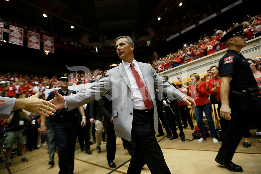 Urban Meyer enters  St. John Arena for the scull session September 6, 2014. (Dispatch photo by Eric Albrecht)