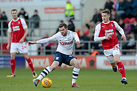 Preston North End's Paul Gallagher gets away from Rotherham United's Ben Wiles<br /> <br /> Photographer David Shipman/CameraSport<br /> <br /> The EFL Sky Bet Championship - Rotherham United v Preston North End - Tuesday 1st January 2019 - New York Stadium - Rotherham<br /> <br /> World Copyright © 2019 CameraSport. All rights reserved. 43 Linden Ave. Countesthorpe. Leicester. England. LE8 5PG - Tel: +44 (0) 116 277 4147 - admin@camerasport.com - www.camerasport.com