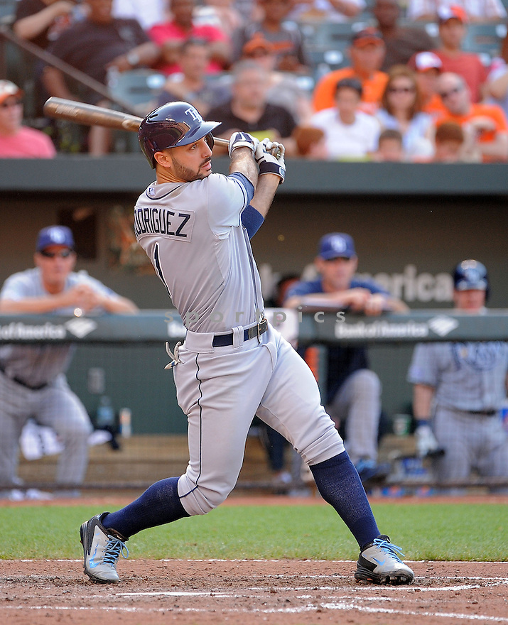 Tampa Bay Rays Sean Rodriguez (1) during a game against the Baltimore Orioles on June 28, 2014 at Oriole Park in Baltimore, MD. The Rays beat the Orioles 5-4.