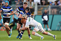 Chris Barry of Bath United is tackled in possession. Aviva A-League match, between Bath United and Saracens Storm on September 1, 2017 at the Recreation Ground in Bath, England. Photo by: Patrick Khachfe / Onside Images