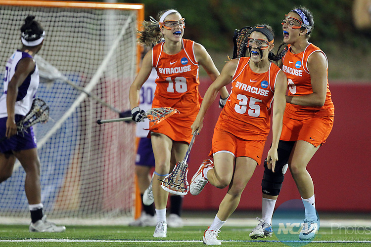 27 MAY 2012:  Michelle Tumolo (35) of Syracuse University celebrates a goal against Northwestern University during the Division I Women?s Lacrosse Championship held at Kenneth P. LaValle Stadium in Stony Brook, NY.  Northwestern defeats Syracuse 8-6 for the national title.  John Munson/NCAA Photos