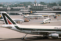 - airport of Milan Linate, Alitalia aircrafts....- aeroporto di Milano Linate, aerei Alitalia