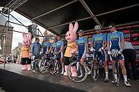 Niki Terpstra (NED/Total - Direct Energie) & team Total Direct Energie on the sign-on podium<br /> <br /> Dwars door het Hageland 2019 (1.1)<br /> 1 day race from Aarschot to Diest (BEL/204km)<br /> <br /> ©kramon